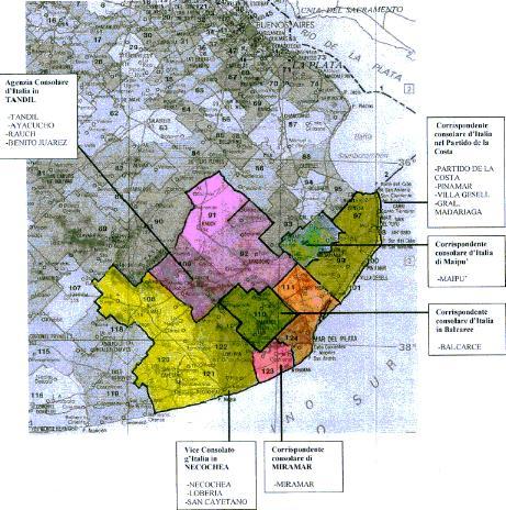 Territorio abarcado por el Consulado de Italia en Mar del Plata